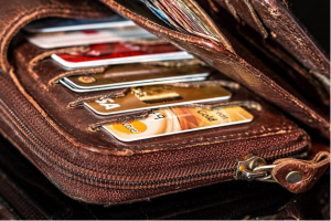 A wallet full of credit cards