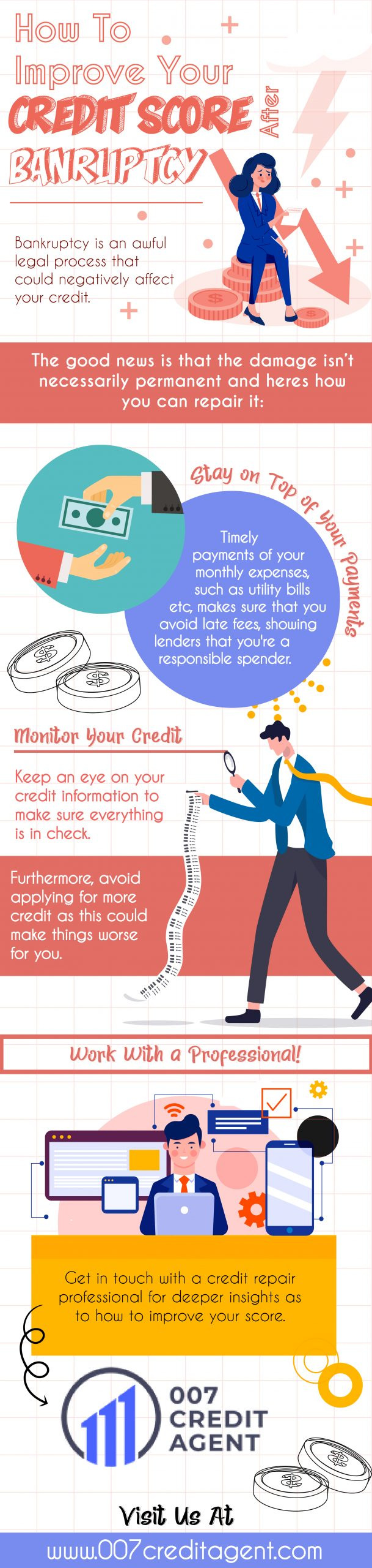 How to Improve Your Credit Score AFter Bankruptcy - Infograph
